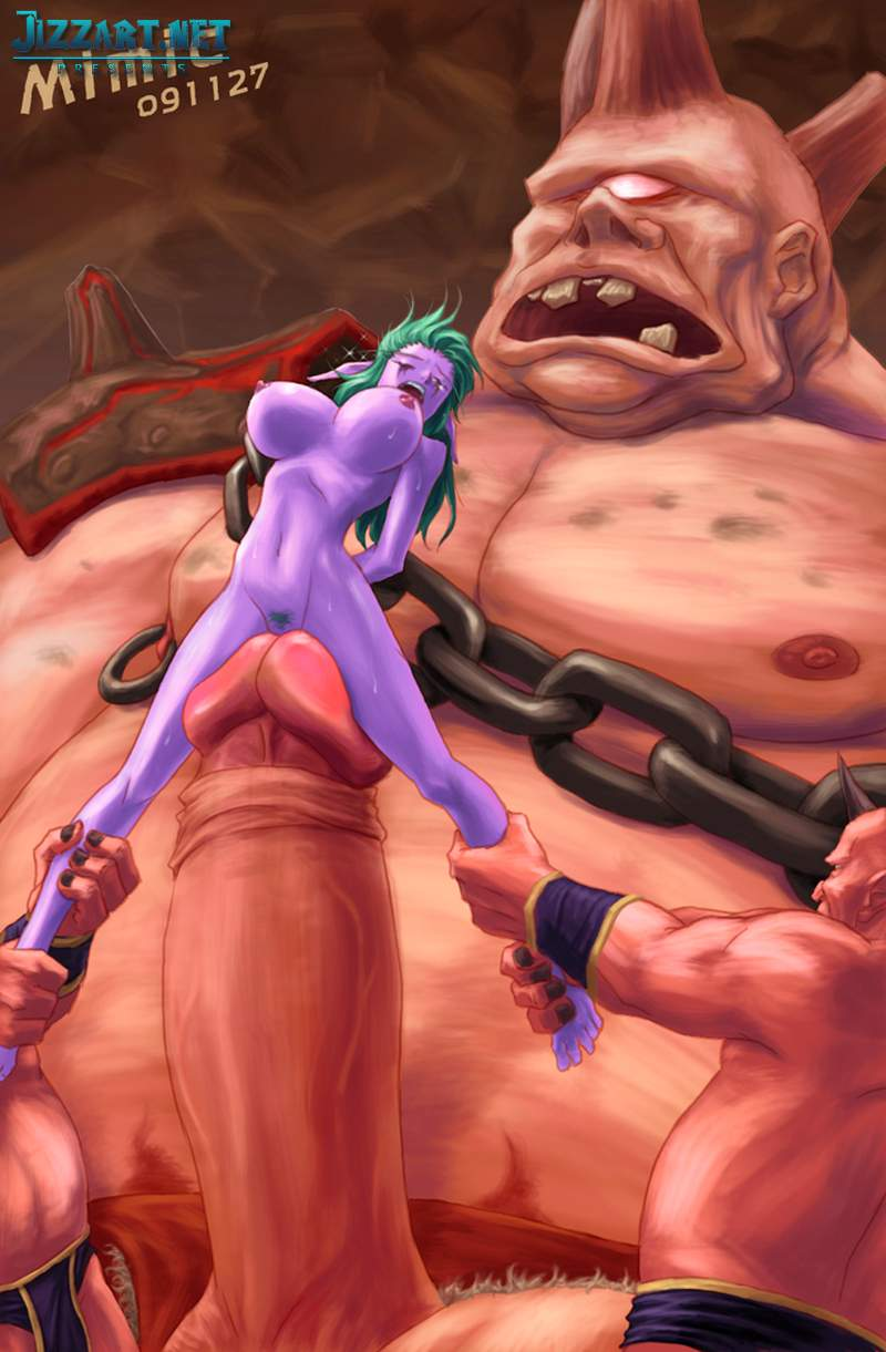 Girl sucks ogre World of Warcraft porn naked thumbs